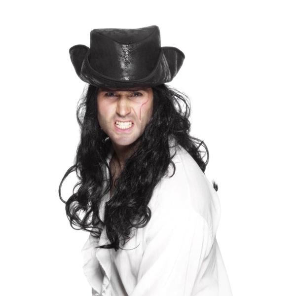 Klobouk pro piráta - černý s vlasy - Karnevalové kostýmy Praha 55671ca986